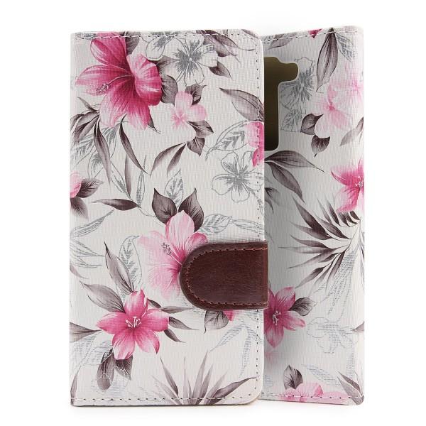 Urcover® LG K8 Schutz Hülle Blumenmuster Kartenfächer Ständer Tasche Schale Etui