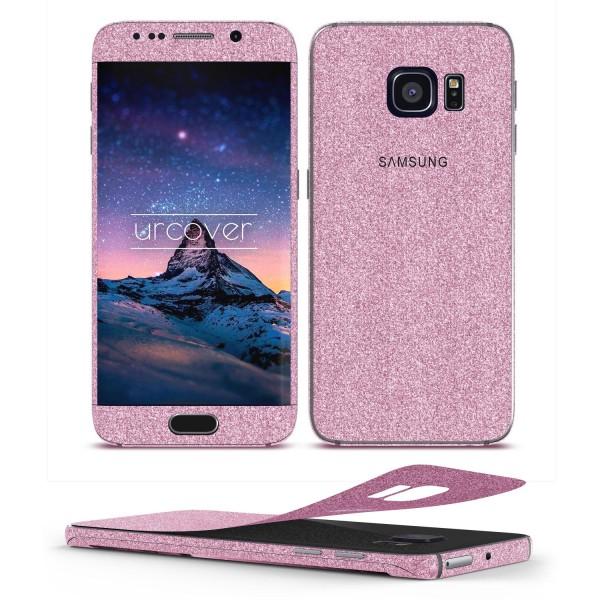 Samsung Galaxy S6 Edge Glitzer Folie Aufkleben Regenbogen Farbig Diamond Bling