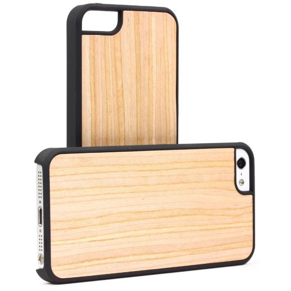 Urcover® Handy Schutz Hülle für Apple iPhone SE / 5 / 5s Holz Optik Case Cover Tasche