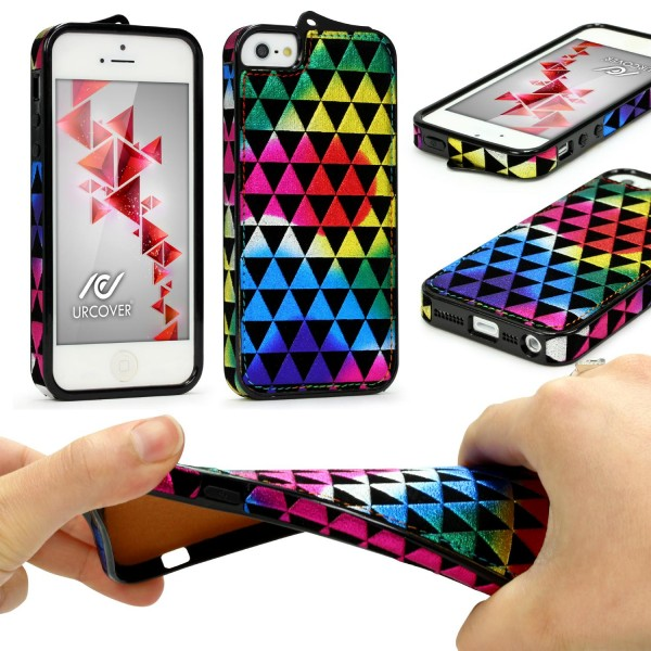 Urcover® Apple iPhone 5 / 5s / SE Schutz Hülle Stoff Muster Soft Case Cover Etui