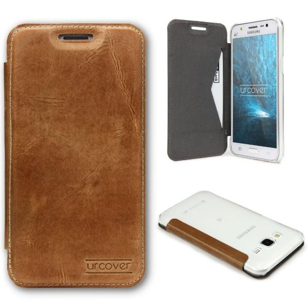 Samsung Galaxy J5 (2015) Echt Leder Schutz Hülle Case Cover klar Tasche Schale