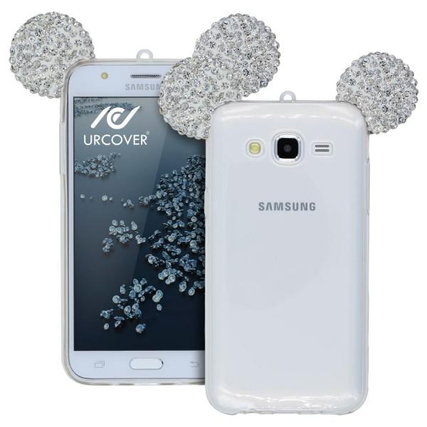 Samsung Galaxy J1 (2015) Maus Strass Ohren Bling Ear Schutz Hülle Glitzer Cover