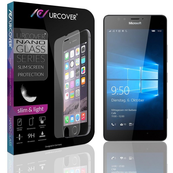 Microsoft Lumia 950 Echt Hart Glas Panzer Display Schutz Folie Ultra Slim Clear