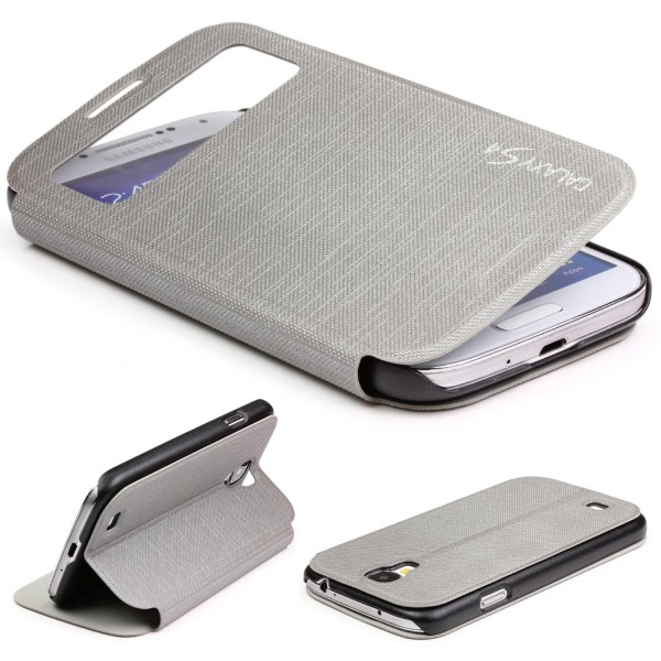 Samsung Galaxy S4 Mini View Case Schutz Hülle Wallet Cover Etui Tasche Struktur