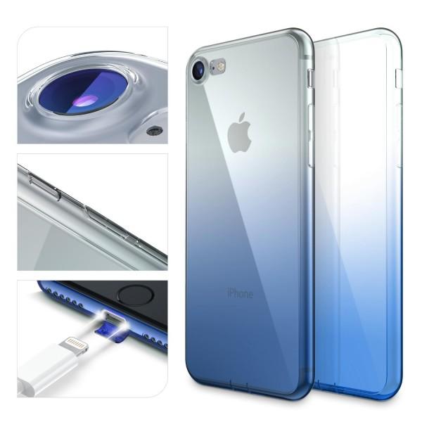 Apple iPhone 7 Bunt Regenbogen Back Case Cover TPU Silikon Schutz Hülle Gel