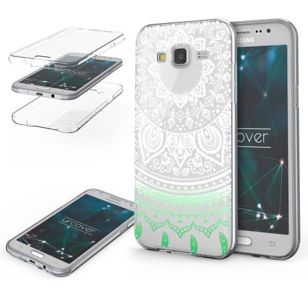 Samsung Galaxy J7 (2015) TPU 360° Grad Rundum Schutz Hülle Mandala Case Cover