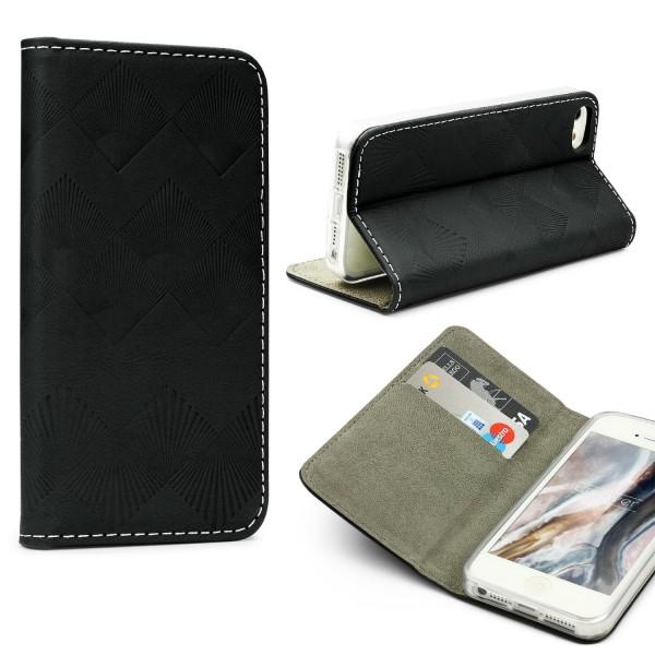 Urcover Apple iPhone 5 / 5s / SE Wallet Schutz Hülle Flip Case Cover Etui Schale