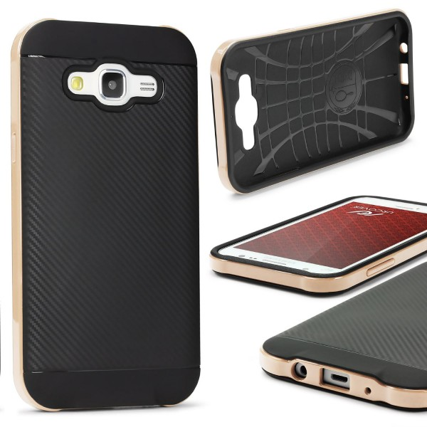 Samsung Galaxy J7 (2015) Back Case Carbon Style Cover Dual Layer Schutzhülle TPU
