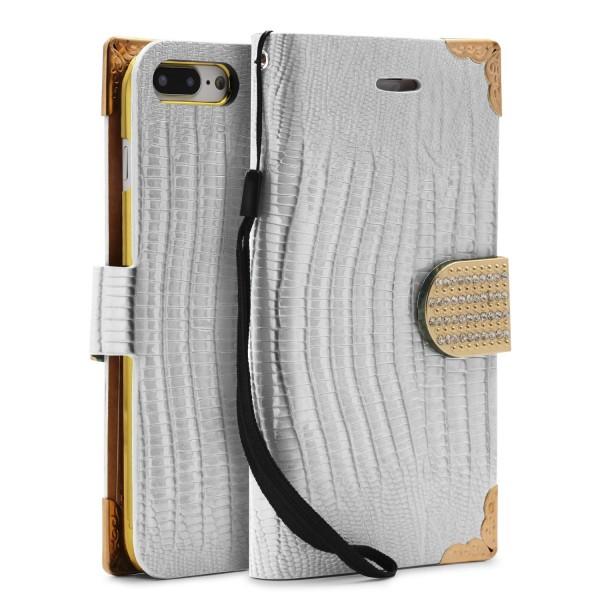 Urcover® Apple iPhone 7 Plus Hülle Kartenfächer Flip Case Cover Wallet Crocodile