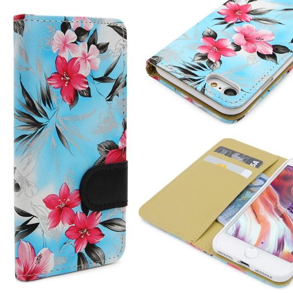 Urcover® Apple iPhone 7 Schutz Hülle Blumenmuster Kartenfächer Ständer Tasche