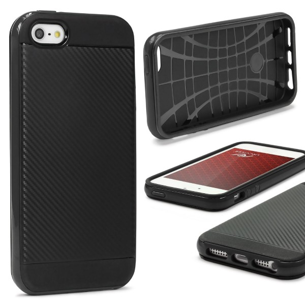 Apple iPhone 5 / 5s / SE Case Carbon Style Schutzhülle Cover Dual Layer TPU PC