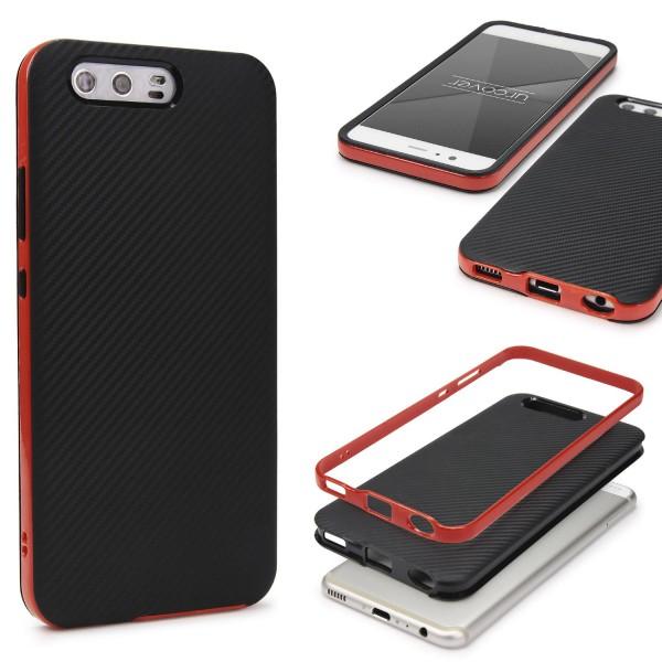 Huawei P10 Plus Back Case Carbon Style Cover Dual Layer Schutzhülle TPU Schale