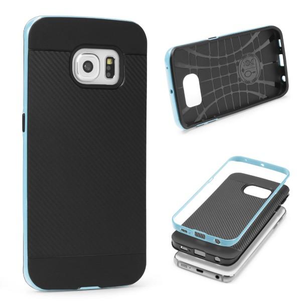 Samsung Galaxy S6 Edge Back Case Carbon Style Cover Dual Layer Schutzhülle TPU