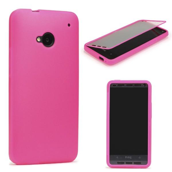 HTC One M7 TOUCH CASE Display Schutzhülle Schale Rundum Cover Tasche Etui Schale
