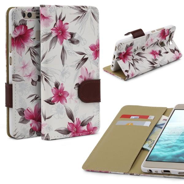 Urcover® Huawei P9 Schutz Hülle Blumenmuster Kartenfächer Ständer Tasche Schale