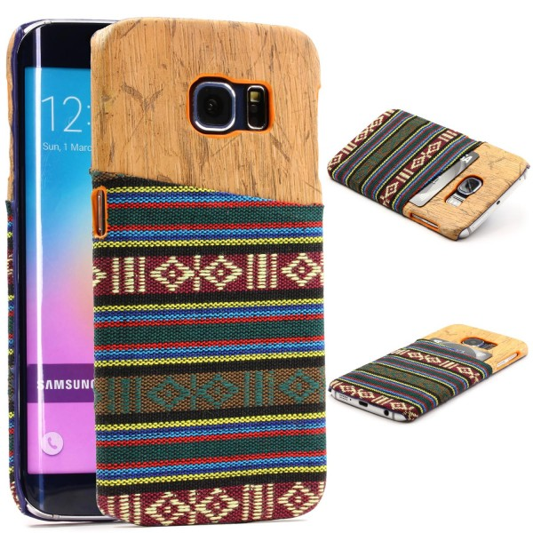Urcover® Samsung Galaxy S6 Edge Schutzhülle Kunststoff Backcase Holz Stoff Optik