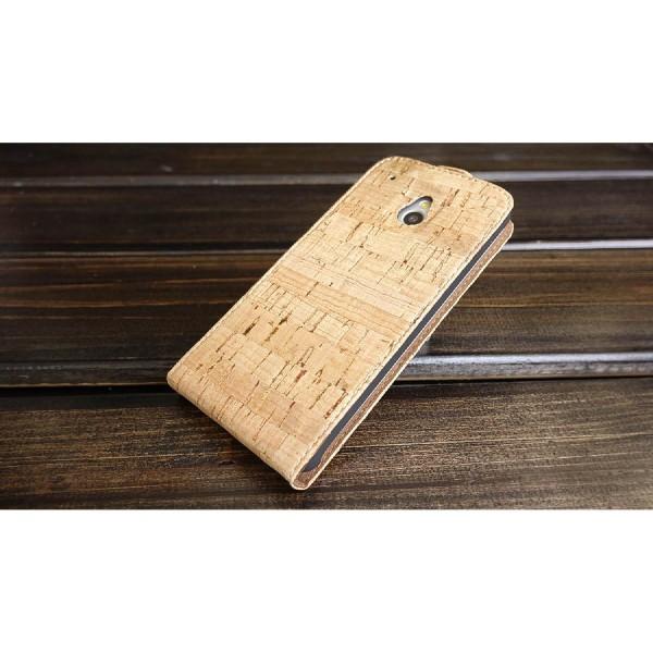 Urcover® HTC M7 Mini Kork Flip Schutz Hülle Case Cover Wallet Etui Schale