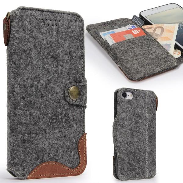 Urcover® Apple iPhone 7 Handyhülle Filz Wallet Tasche Aufklapp Smartphone Hülle