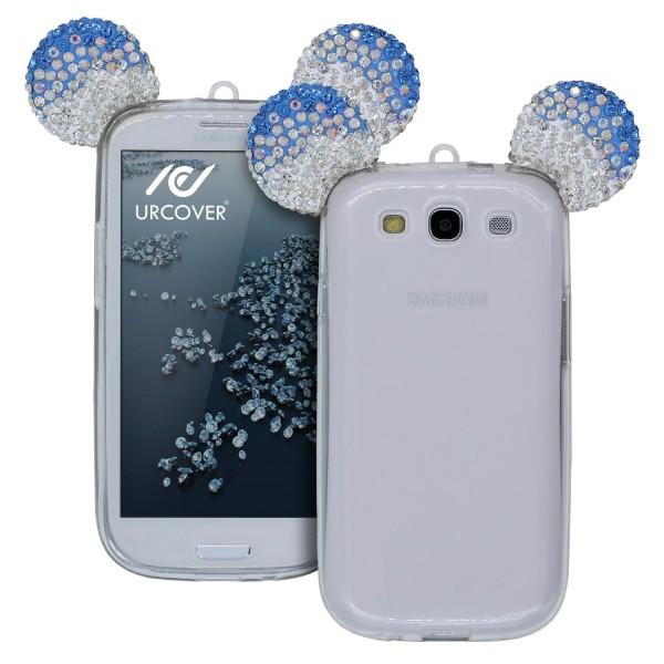Samsung Galaxy S3 Maus Strass Ohren Bling Ear Schutz Hülle Glitzer Cover Case