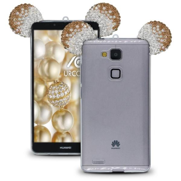 Huawei Ascend Mate 7 Maus Strass Ohren Bling Ear Schutz Hülle Glitzer Cover Case
