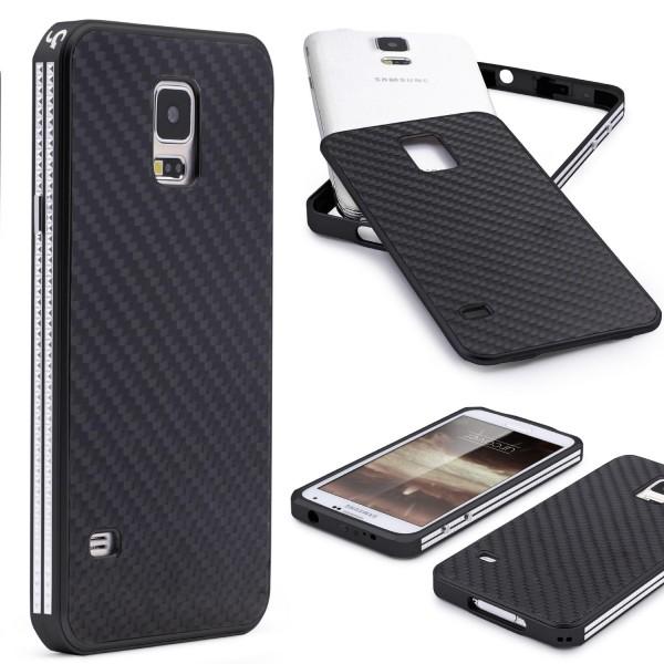 Samsung Galaxy S5 Echt Carbon Back Case Handy Schutz Hülle Bumper Aluminium