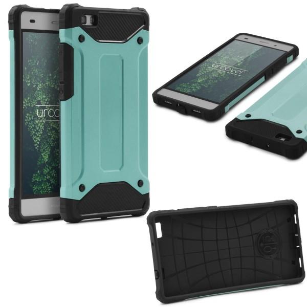 Huawei P8 Lite OUTDOOR Schutz Hülle TOP Cover Backcase Carbon Optik Etui Schale