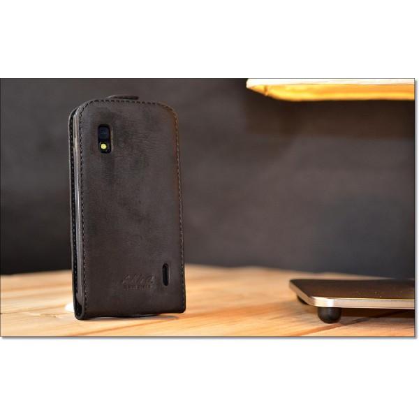 Akira LG Nexus 4 Handmade Echtleder Schutzhülle Flip Ledertasche Case Wallet