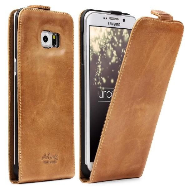 Akira Samsung Galaxy S6 Edge Plus Handgemachte Echt Leder Klapp Schutz Hülle Flip Case Wallet