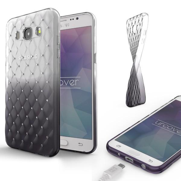 Samsung Galaxy J5 (2016) TPU Handyhülle Schutz Cover Glitzer Diamant Schale Case