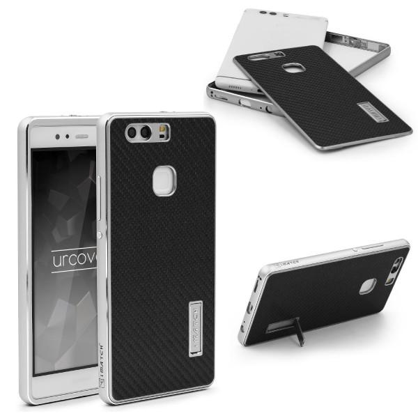 Huawei P9 Echt Carbon Back Case Handy Schutz Hülle Bumper Aluminium Karbon Cover