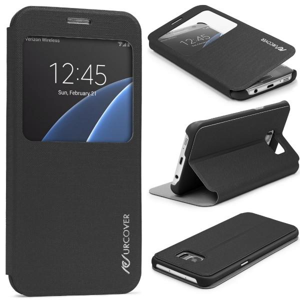 Samsung Galaxy S7 Edge View Case Schutz Hülle Wallet Cover Etui Tasche