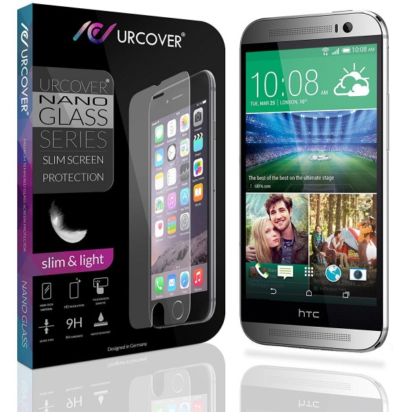 HTC One M8 Echt Hart Glas Panzer Display Schutz Folie Ultra Slim Crystal Clear