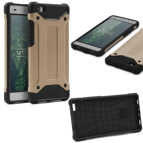 Huawei P8 Lite OUTDOOR Schutz Hülle TOP Cover Backcase Carbon Optik Etui Schale
