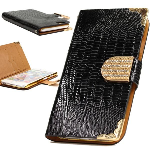 Urcover® Apple iPhone 6 / 6s Hülle Kartenfächer Flip Case Cover Wallet Crocodile