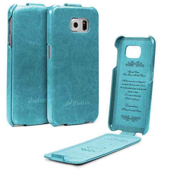 Samsung Galaxy S6 Tasche Flip Case Cover Schutz Hülle Etui Wallet Kunst-Leder