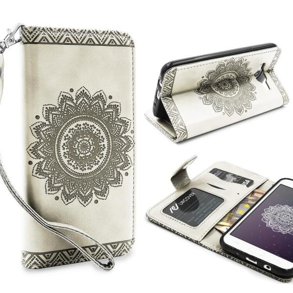 Samsung Galaxy J3 (2015) Wallet Klapp Schutz Hülle Stand Flip Case Cover Etui