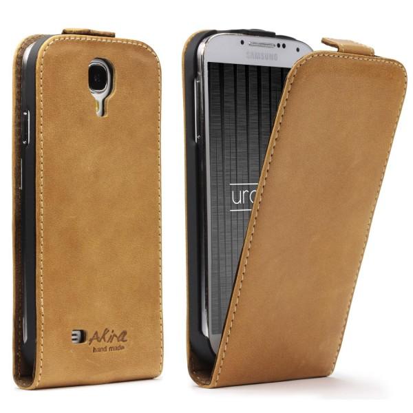Akira Samsung Galaxy S4 Handmade Echtleder Schutzhülle Flip Ledertasche Wallet