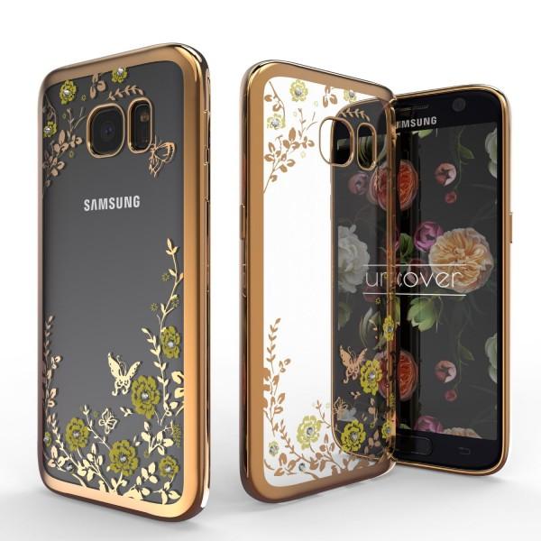 Urcover® Samsung Galaxy S7 Blumen Back Case Klar Schutzhülle Cover Etui Tasche