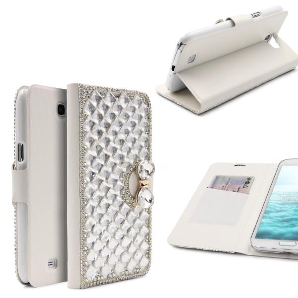 Urcover® Samsung Galaxy Note 2 Strass Schutzhülle Bling Wallet Case Cover Etui