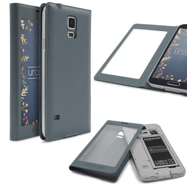 Urcover® Handy Schutz Hülle für Samsung Galaxy S5 View Case Cover Fenster Tasche