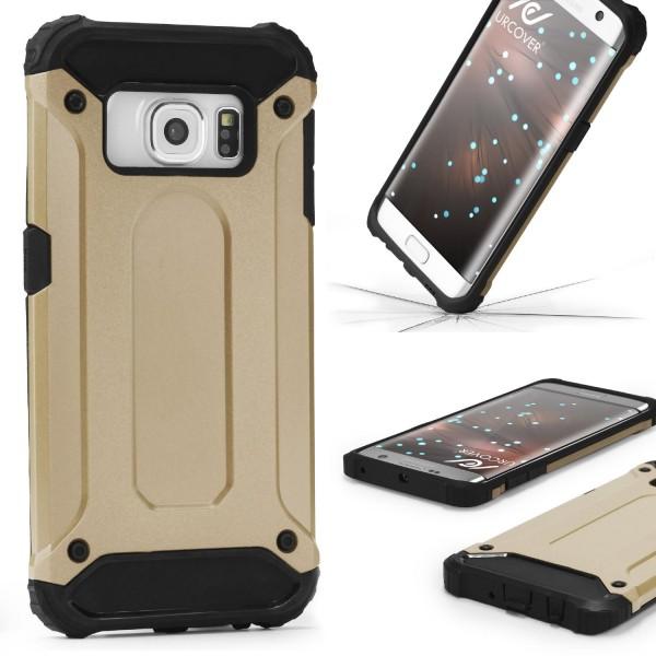 Samsung Galaxy S6 Edge OUTDOOR Schutzhülle TOP Cover Back Case Carbon Optik Etui