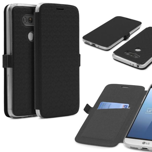 LG G5 Klapp Handy Schutz Hülle Sichtfenster Kartenfach Standfunktion Case Cover