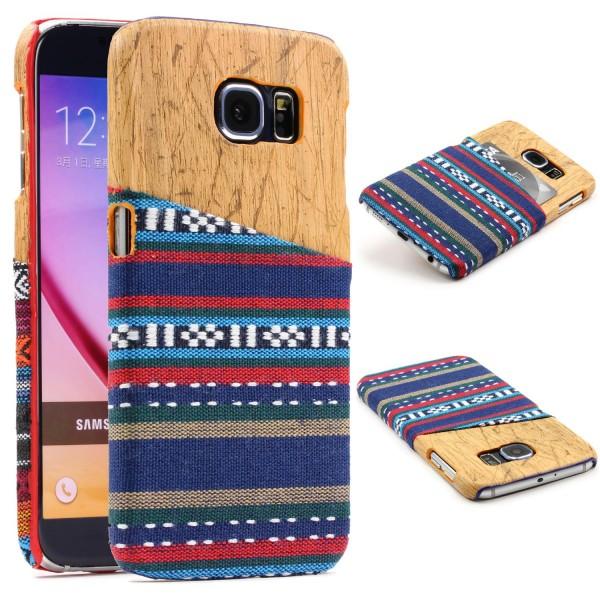 Urcover® Samsung Galaxy S6 Schutzhülle Kunststoff Backcase Holz + Stoff Optik