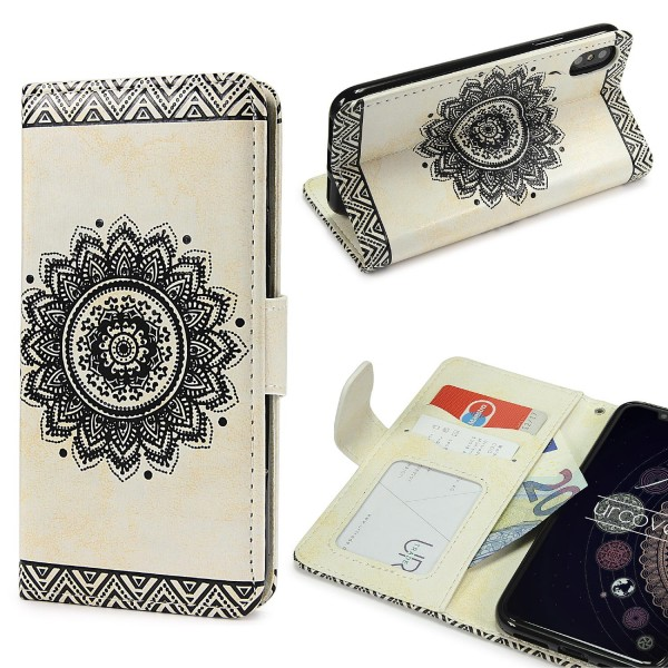 Urcover® Apple iPhone X Schutz Hülle Wallet Klapp Schale Lotus Pattern Case Cover