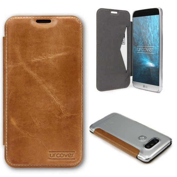 LG G5 Urcover Echt Leder Wallet Handyhülle Bruchsicher Cover Kartenfach Case