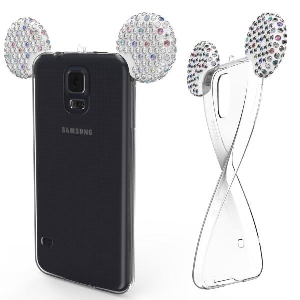 Samsung Galaxy S5 TPU Maus Ohren Bling Ear Edition Schutz Hülle Cover Glitzer