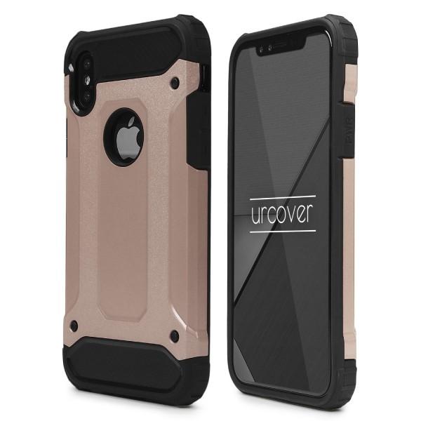 Urcover® Apple iPhone X Hybrid Case Steel Series Schutzhülle Cover Dual Layer TPU PC