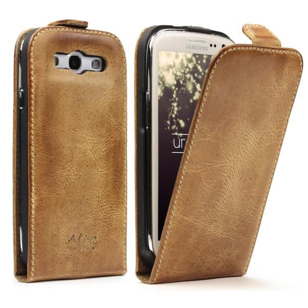 Akira Samsung Galaxy S3 Echtleder Schutzhülle Flip Ledertasche Wallet Case Etui