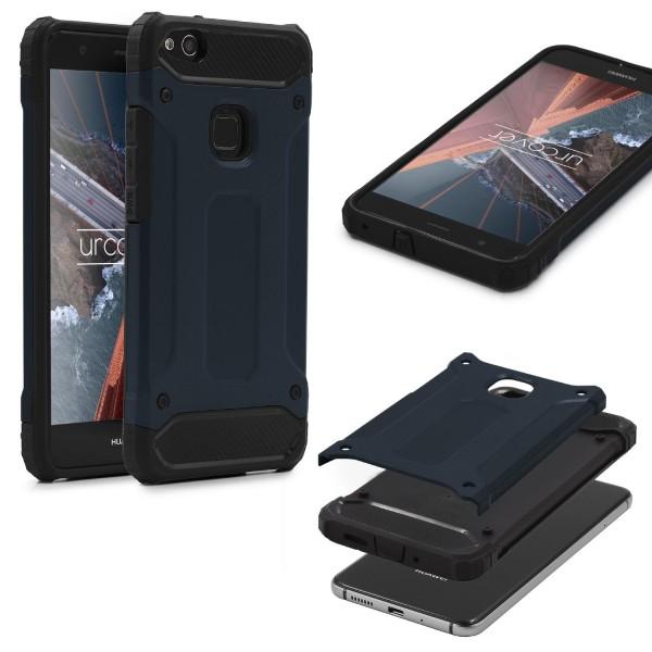 Huawei P10 Lite OUTDOOR Schutz Hülle TOP Cover Backcase Carbon Optik Etui Schale