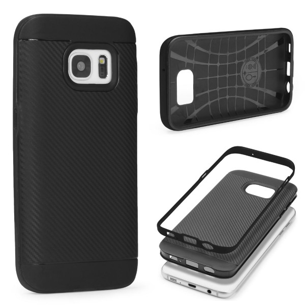 Samsung Galaxy S7 Case Carbon Style Schutzhülle Cover Dual Layer TPU